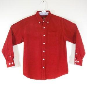 Boys J Khaki Red Corduroy Button Down Shirt - Med